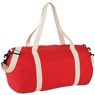 THE COTTON BARREL DUFFLE in Natural - Red