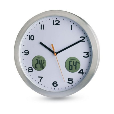 WALL CLOCK with Thermometer in Matt Silver